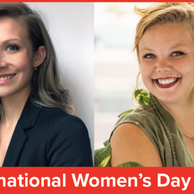 Two photos of women's headshots, both with light skin and blonde hair. Red banner at bottom with words International Women's Day 2020