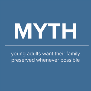 "blue background with the word ""myth"" large white lettering. below myth image reads: young adults want their family preserved whenever possible"